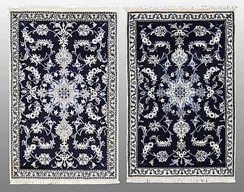 Two Nain rugs, ca 138 x 90 resp 138 x 90 cm.