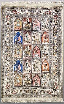 A RUG, Figural silk Kaysari, ca 126 x 80 cm.