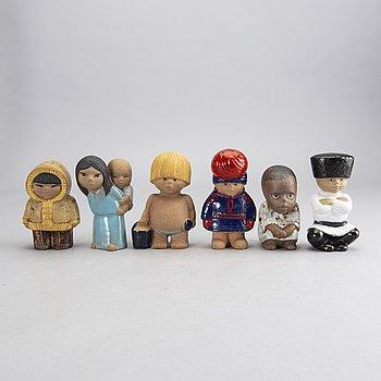 LISA LARSON, figuriner 6 st, stengods, Gustavsberg.
