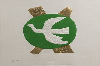 GEORGES BRAQUE, after, engraving with gold leaf, signed and numbered 38/200 by Heger De Lowenfeld.