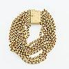 Armband 18k guld, 8 rader ärtlänkar, 36,0 g