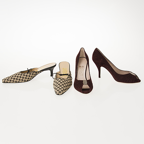 Salvatore ferragamo, two pairs of shoes in size 9