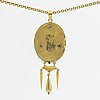Pendant w chain 18k gold, black enamel, 2 pearls, pendant hallmarked 1879, 19,4 g