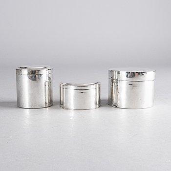 GUSTAF FOLCKER MFL toilettdosor 3 st silver 1800-talets början.