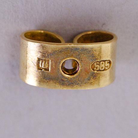 BjÖrn weckstrÖm, korvakorut, viljellyt helmet, 14k kultaa. lapponia 1960 luku