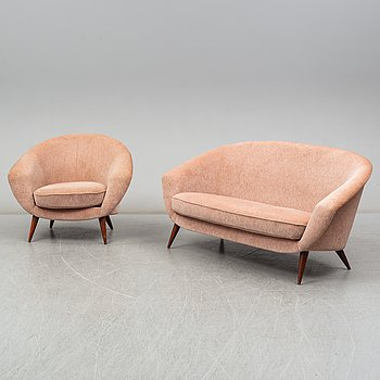 A sofa and easy chair by  S M Wincrantz Möbelindustri, Skövde, 1950s.