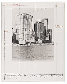 """337. Christo & Jeanne-Claude, """"Lower Manhattan Wrapped Building, Project for New York"""" from """"Five Urban Projects""""."""