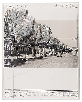 """339. Christo & Jeanne-Claude, """"Wrapped Trees, Project for the Avenue des Champs-Elysées, Paris"""" from """"Five Urban Projects""""."""