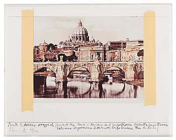 """338. Christo & Jeanne-Claude, """"Ponte S. Angelo, Wrapped, Project for Rome"""" from """"Five Urban Projects""""."""