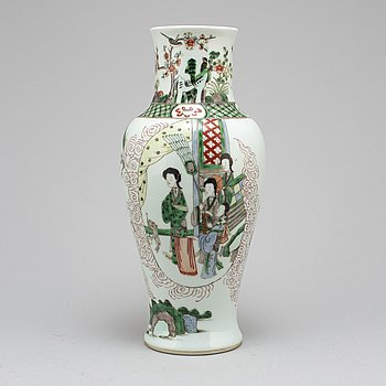 A Chinese famille verte vase, 20th century.