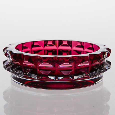 Aimo okkolin serpentine bowl, signed riihimäen lasi oy 68.