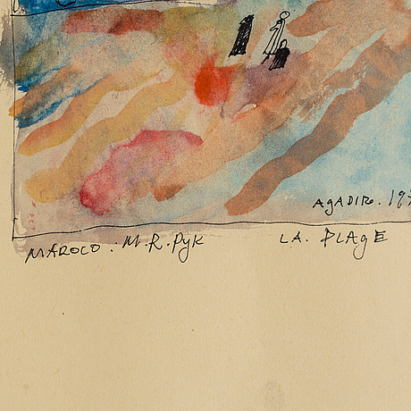 Madeleine pyk, watercolour, signed and dated agadir 1974