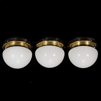 Three late 20th century wall/ ceiling lights, 'Bau' model 971-500 for Orno/Thorn Finland.