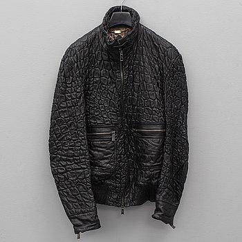 A leather jacket by Billionaire, Italian size 54.