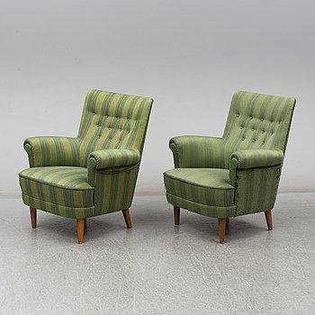 A pair of 'Hemmakväll' easy chairs by Carl Malmsten for AB O.H. Sjögren, Tranås.