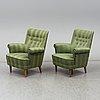 A pair of 'hemmakväll' easy chairs by carl malmsten for ab o.h. sjögren, tranås