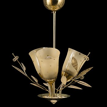 A mid-20th Century brass ceiling light, Itsu, Finland.