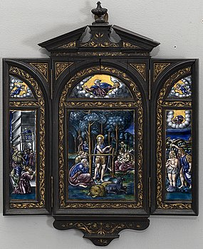 TRIPTYCH, enamel, 19th century latter part, possibly Limoges.