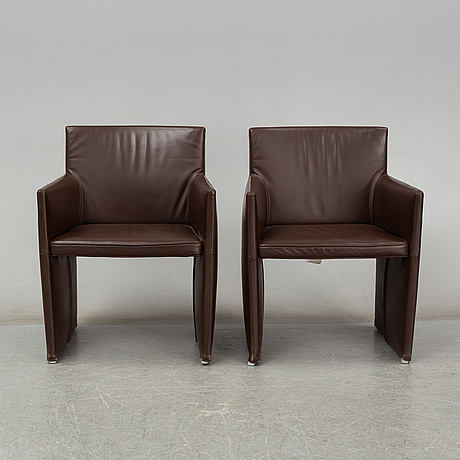 "David chipperfield, armchairs, a pair, ""posa"", b&b italia. signed with label"