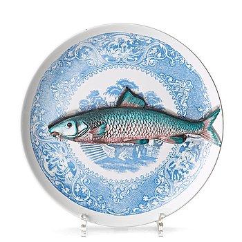 "2. Piero Fornasetti, a set of six ""Piscibus"" porcelain plates, Milano, Italy."