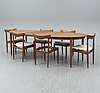A dining table and six chairs, h. w. klein, bramin, denmark, 1960s. two leaves included
