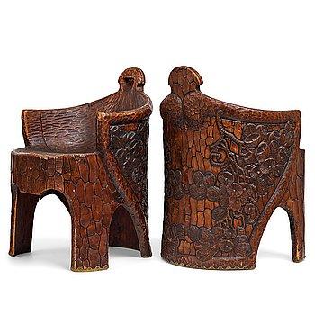 "233. Gustaf Fjaestad, a pair of Art Nouveau carved pine chairs ""stabbestolar"", Arvika Sweden 1908-1909."