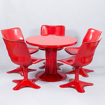 YRJÖ KUKKAPURO, a 1970's ' Saturnus' table and five '415A' chair for Haimi Finland.