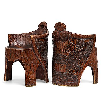 "234. Gustaf Fjaestad, a pair of Art Nouveau carved pine chairs ""stabbestolar"", Arvika Sweden 1908-09."