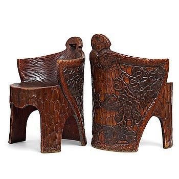 "235. Gustaf Fjaestad, a pair of Art Nouveau carved pine chairs ""stabbestolar"", Arvika Sweden 1908-09."