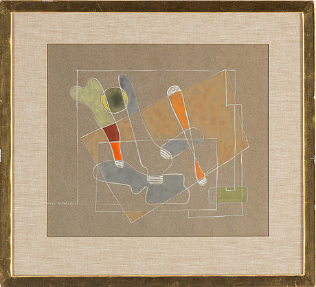 Nils wedel, gouache, signed and dated -35.