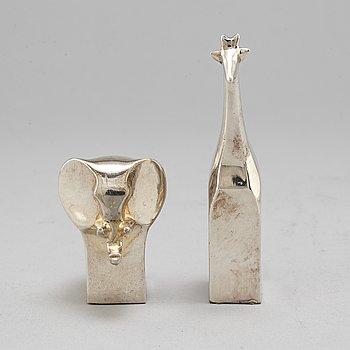 GUNNAR CYRÉN, wo silverplated figurines, Danish design, Japan.