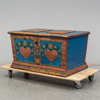 A Swedish chest, dated 1858.