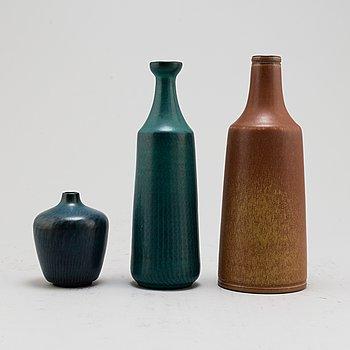 GUNNAR NYLUND, vaser, 3 st, stengods, Nymölle, Danmark samt Rörstrand.