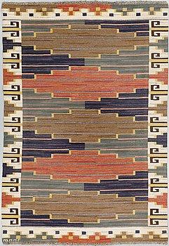 """MÄRTA MÅÅS-FJETTERSTRÖM, A CARPET, """"Blå heden"""", flat weave, ca 247,5 x 156 cm, signed AB MMF."""
