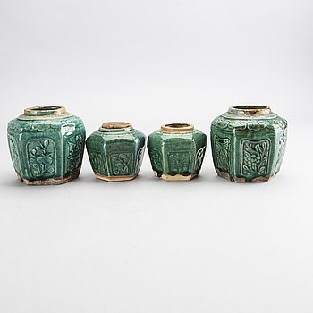 A set of four Chinese 19th century eartheware urns.