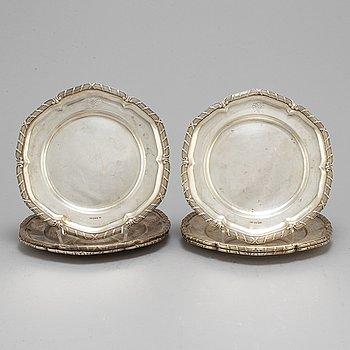 DAVID ANDERSEN & CO AB, six silver plates, Stockholm, 1927-38.