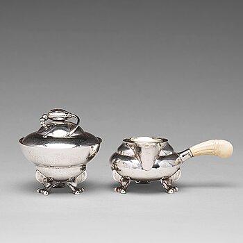 """152. Georg Jensen, a """"Blossom"""" sugarbowl and creamer, Copenhagen 1919-21, 830/1000 silver."""