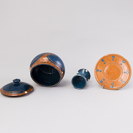 Alfred william finch, three objects by iris finland, around 1900