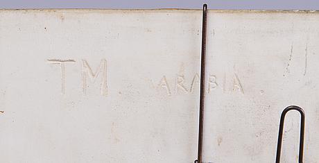 Toini muona, relief, stengods, signerad tm arabia