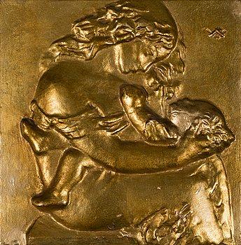 WÄINÖ AALTONEN,  reliefi, kullattua kipsiä, monogrammisigneeraus. Signeerattu ja päivätty 1936 a tergo.