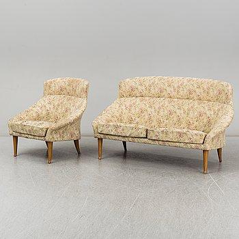 KERSTIN HÖRLIN-HOLMQVIST, a 'Stora familjen' armchair and a sofa, mid 20th century.