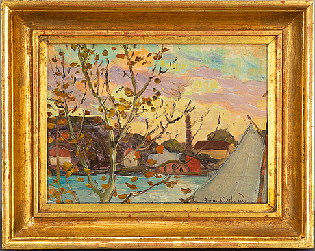 Helmer osslund, oil on canvas/paper-panel, signed.