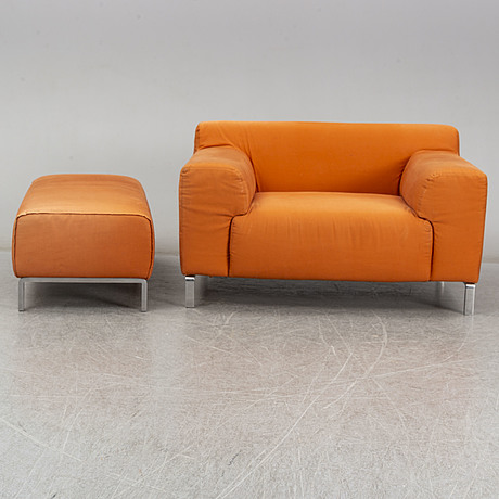 A zanotta easy chair and ottoman, italy.