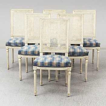 Six Gustavian style chairs, late 20th century.