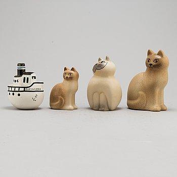 LISA LARSON, 4 stoneware figurines.