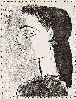 """668. Pablo Picasso, """"Jacqueline with black kerchief""""."""