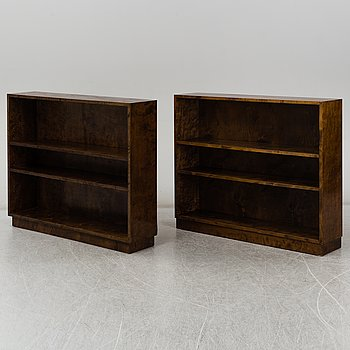 A pair of stained birch veneered bookcases, 1930's.