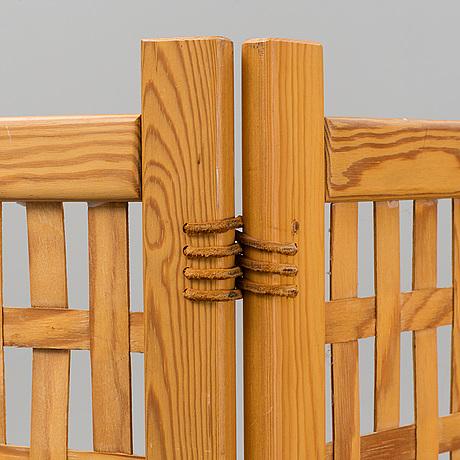 A 'spåna' pine folding screen from alberts, tibro, mid 20th century