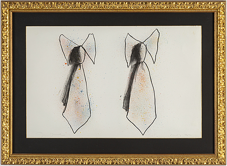 Jim dine, a lithograph in colors, two ties (from ooh la la), 1970, signed and numbered 46/75.