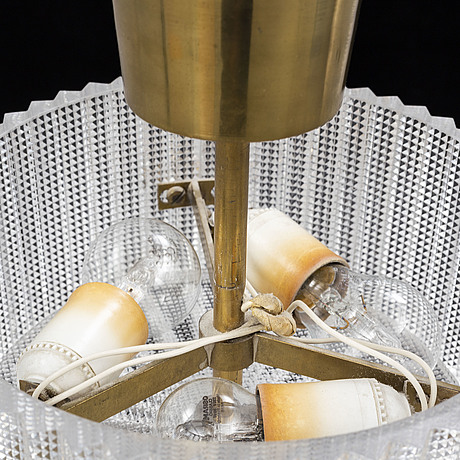 Carl fagerlund, two glass ceiling lamps, for orrefors, 1970s